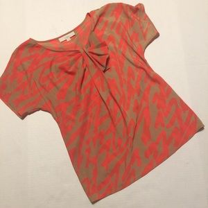 Coral/ Tan Blouse